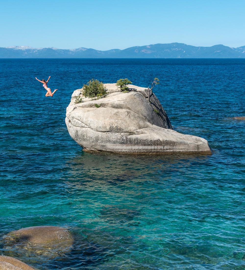 Jumping of Bonsai Rock in Lake Tahoe