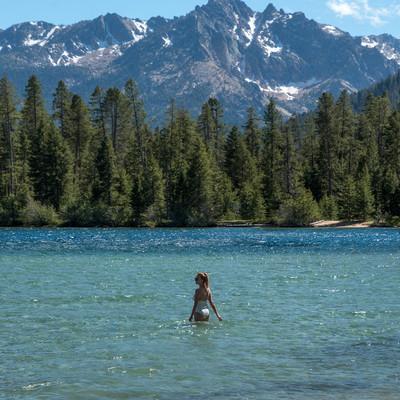 Redfish Lake in Sawtooth Mountains in Stanley Idaho