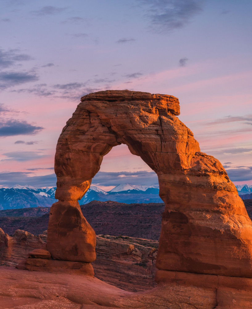 Sunset at Delicate Arch in Arches National Park Moab Utah