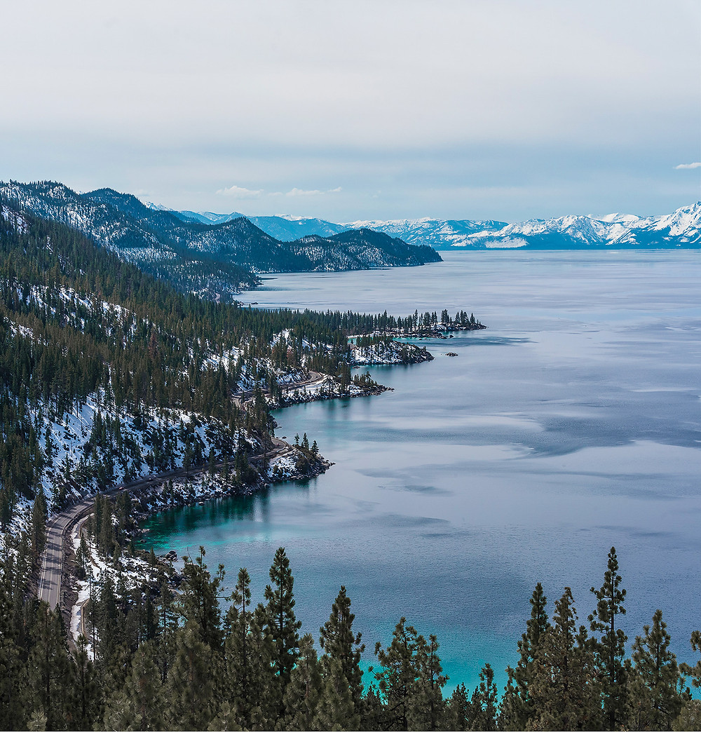 snowy winter views of lake tahoe from flume trail hike
