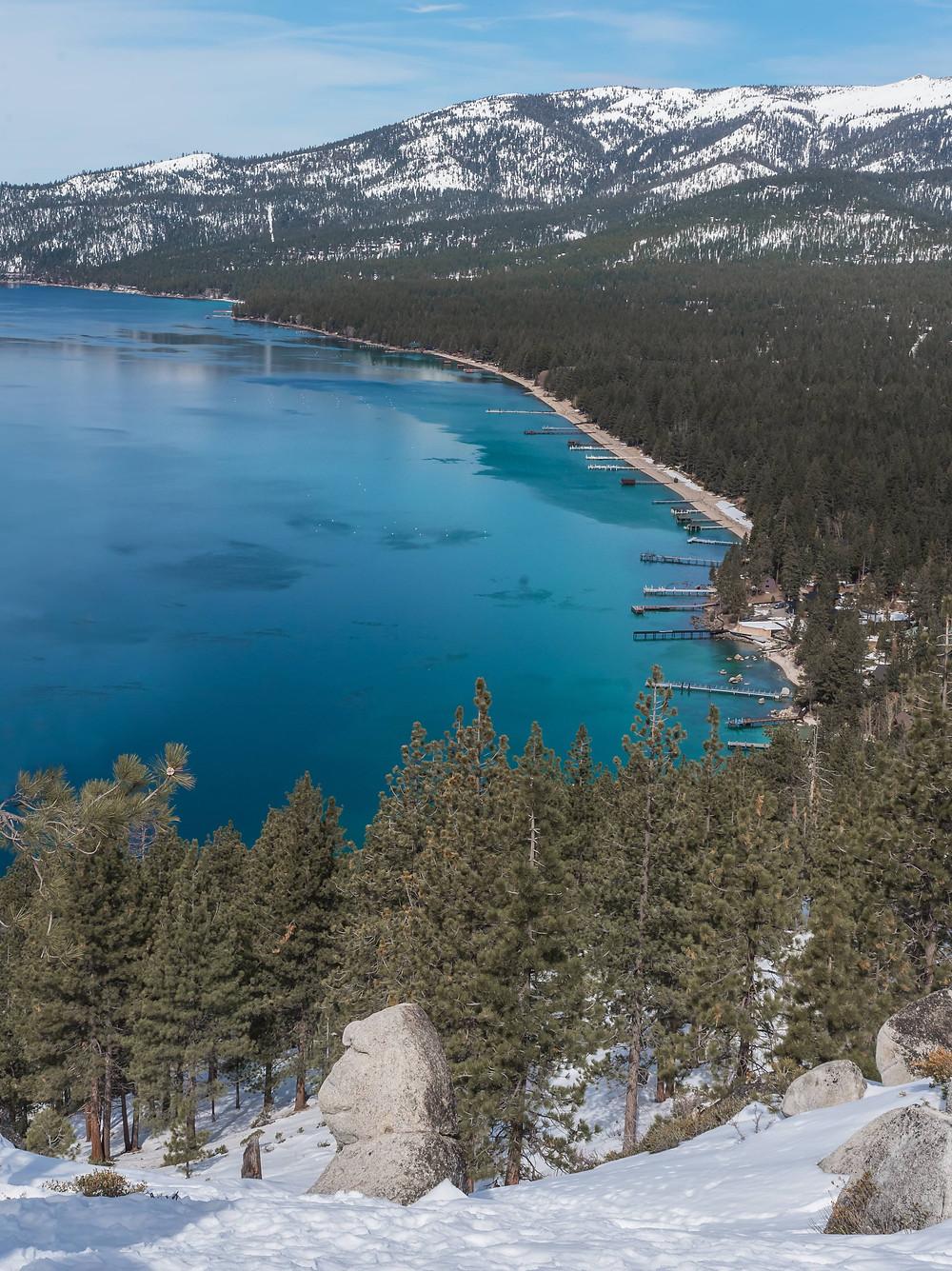 Monkey Rock hike in lake tahoe in the winter
