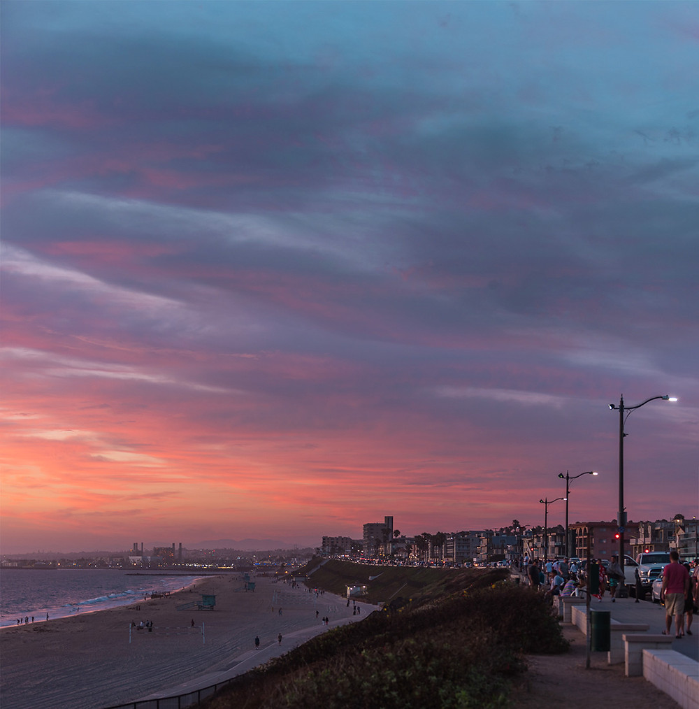 Torrance Beach promenade and bike path at sunset in Torrance California