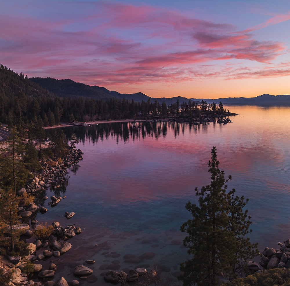 Sunset at Sand Harbor in Lake Tahoe