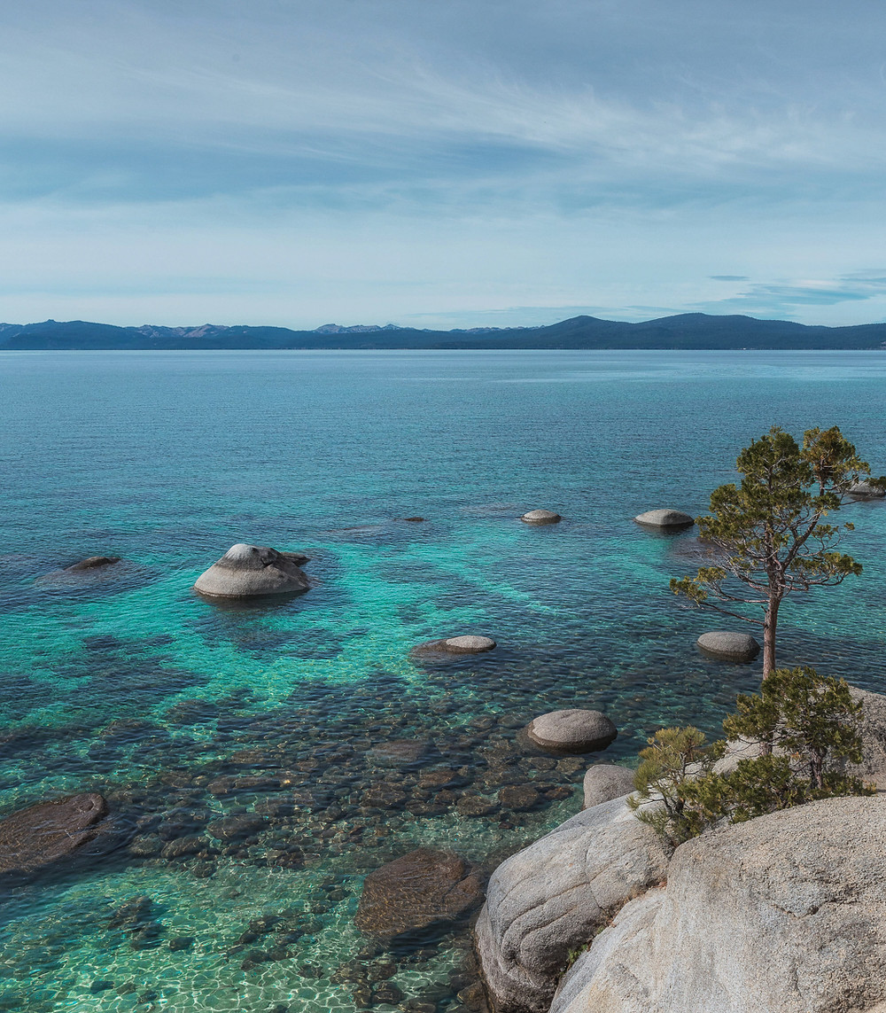 Pretty beach in Lake Tahoe.  Turquoise water at Chimney Beach in Lake Tahoe