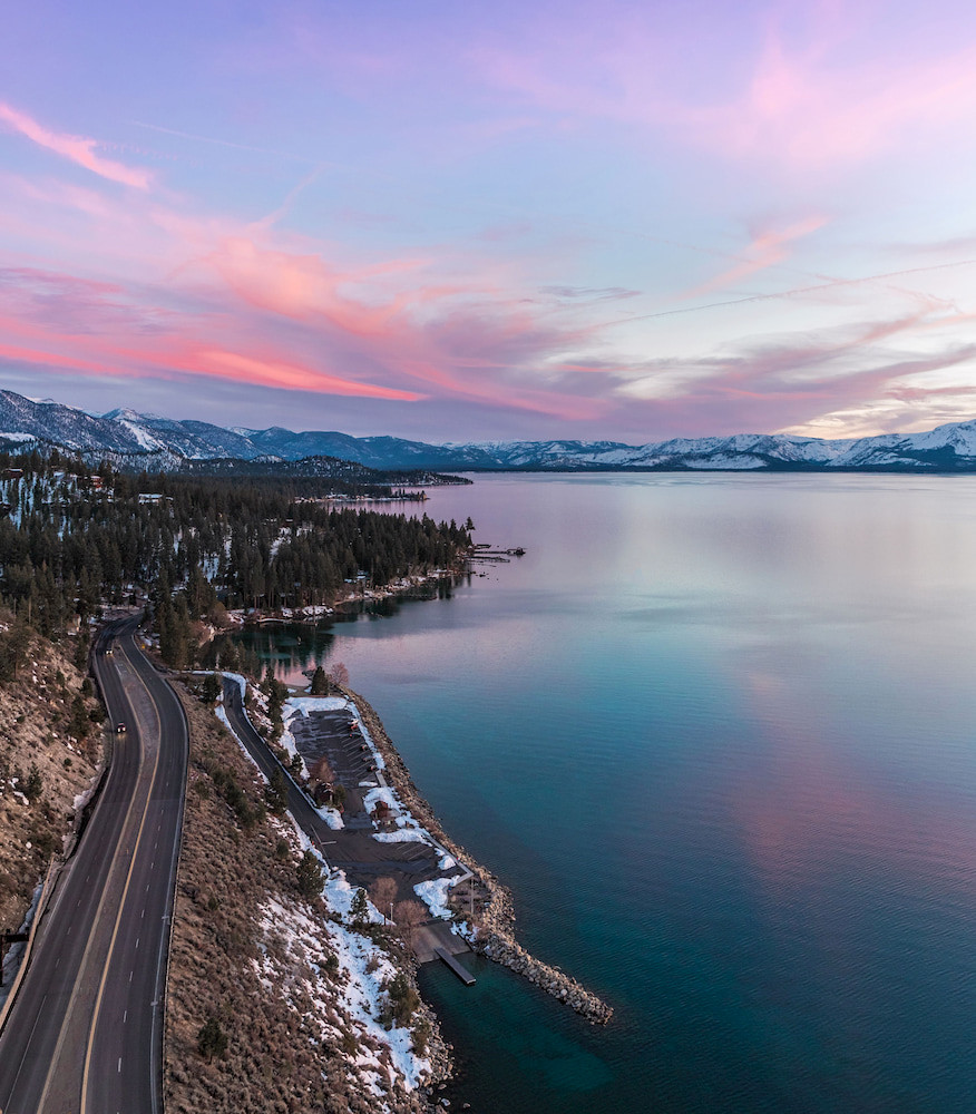 Winter Sunset at Cave Rock in Lake Tahoe