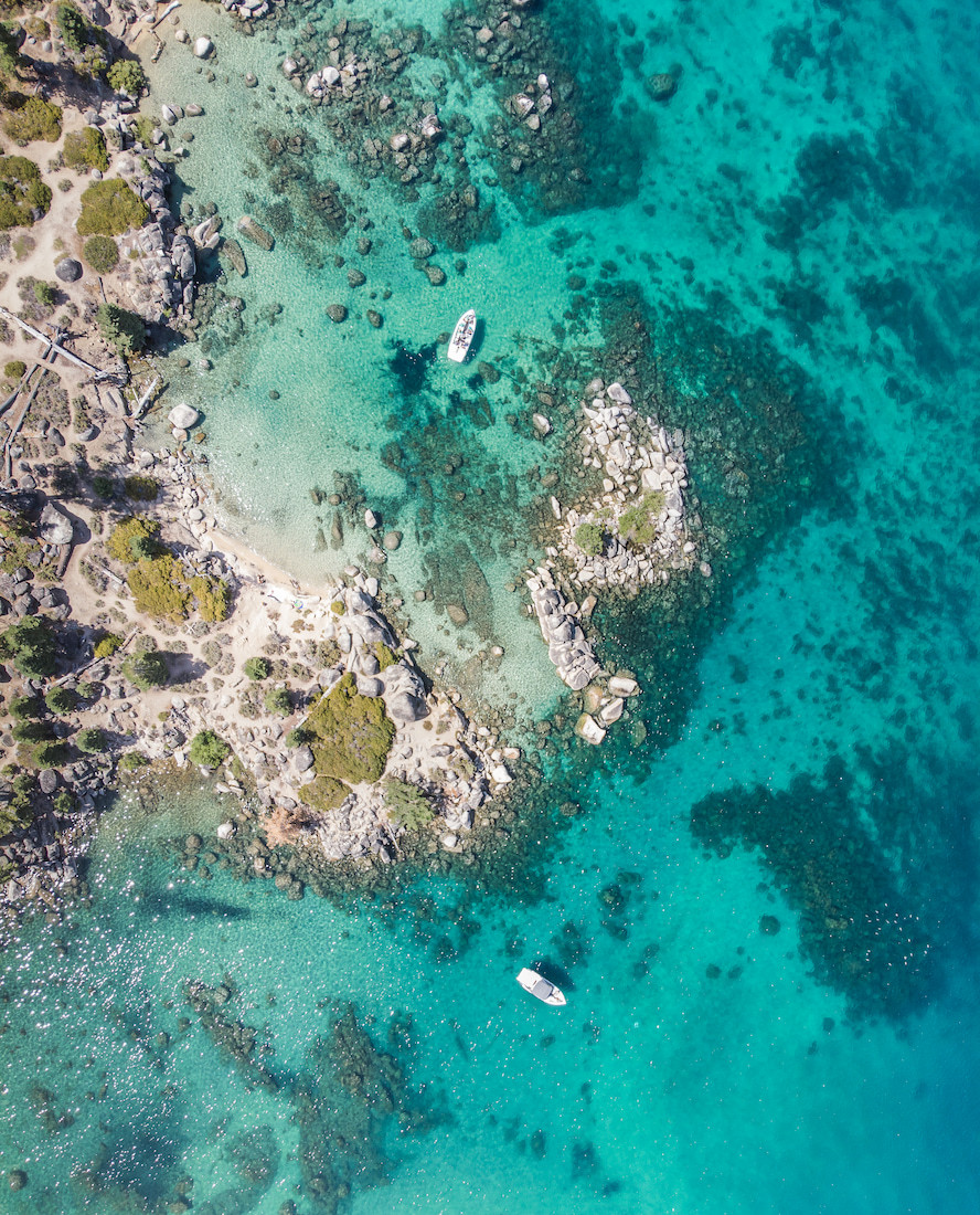 Aerial view of Whale Beach in Lake Tahoe