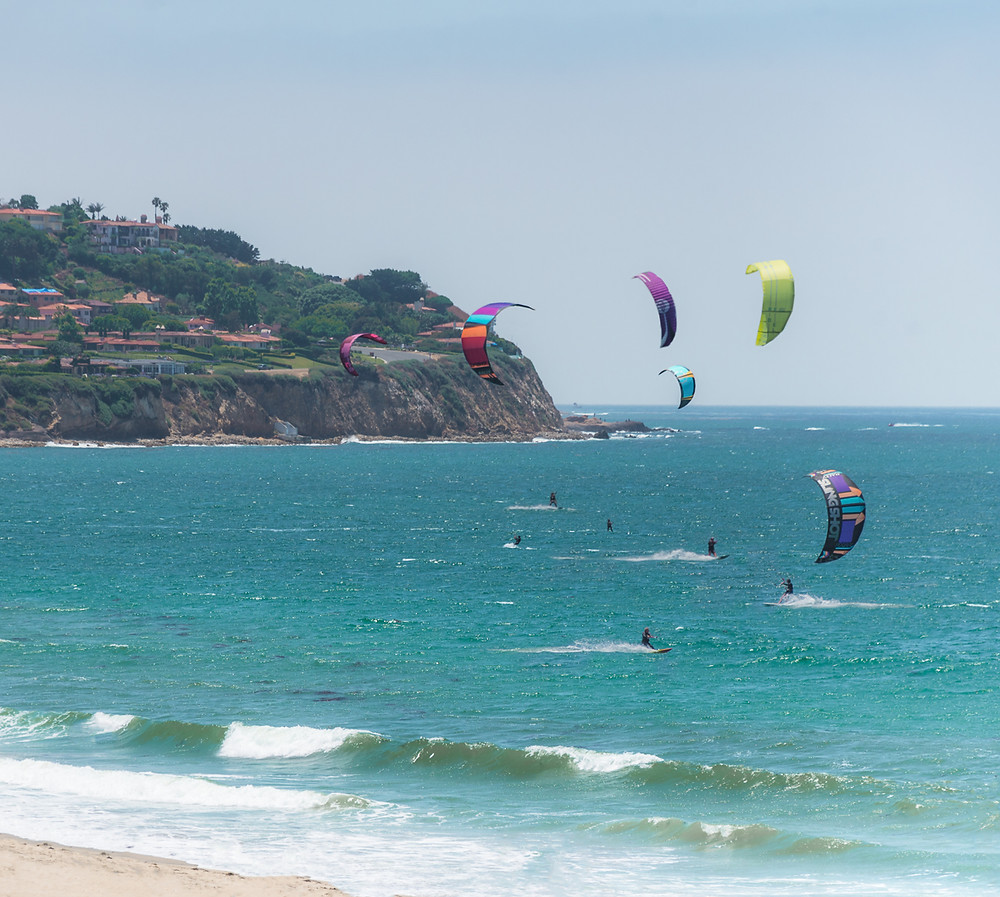 Kite surfers at Torrance Beach in Torrance California