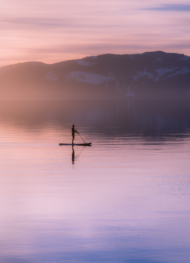 Stand Up Paddle Boarder Lake Tahoe