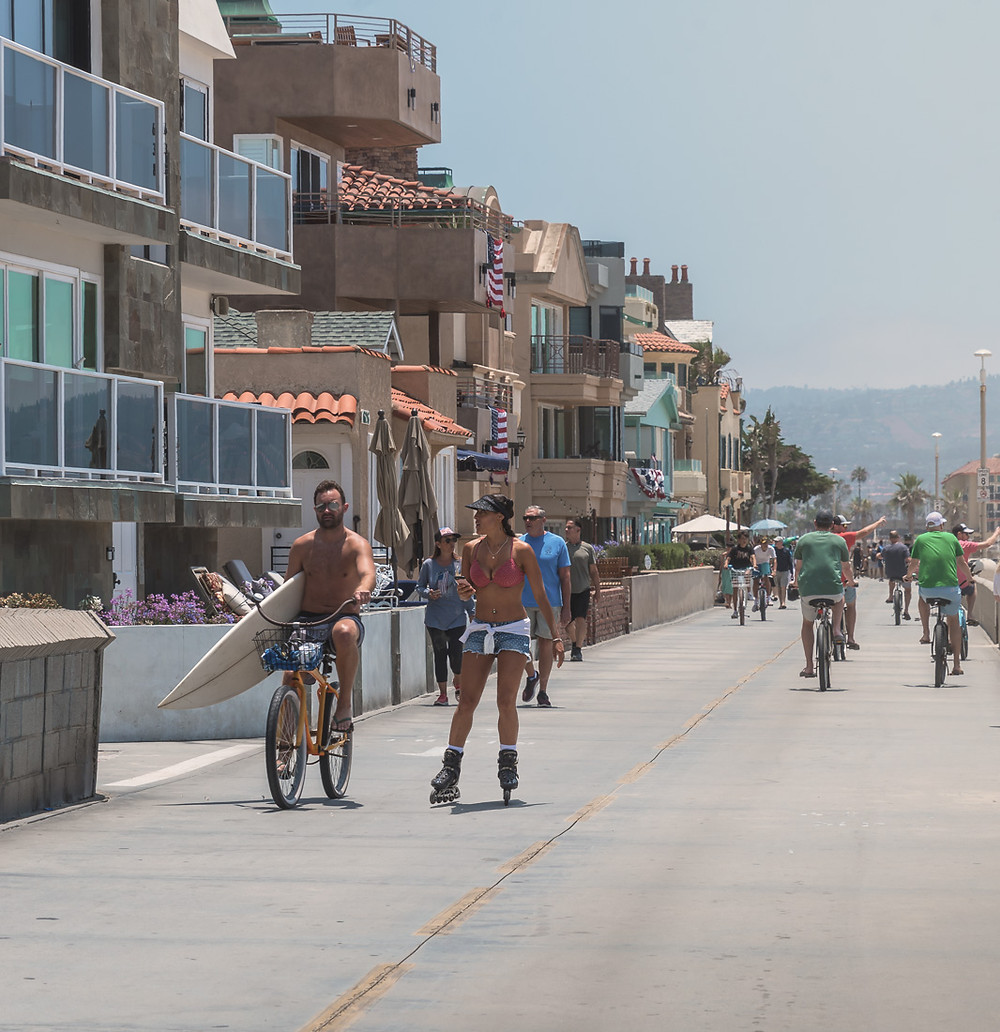 Bicyclists along The Strand in Hermosa Beach California