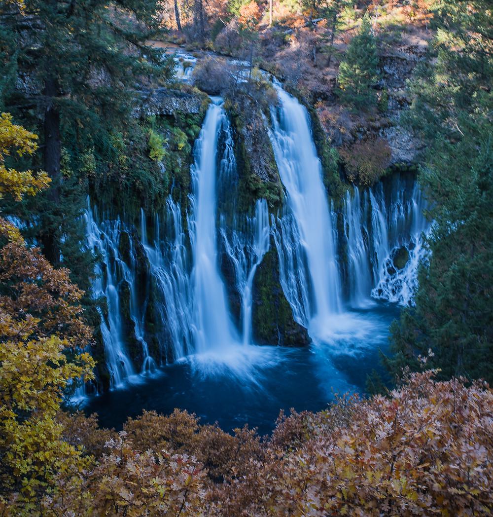 Fall colors at Burney Falls in Mcarthur--Burney Falls memorial state park