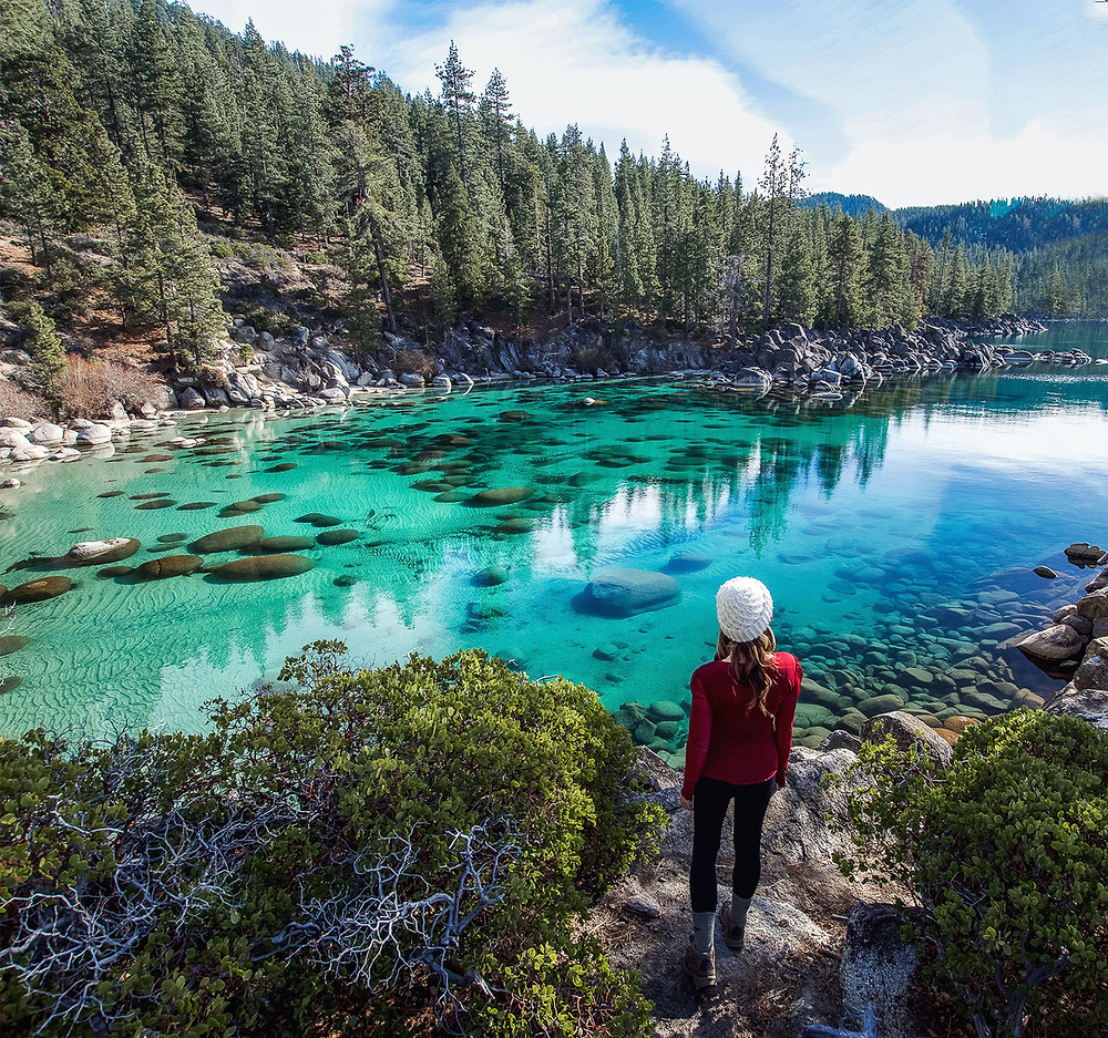 Turquoise water at Secret Cove Beach in Lake Tahoe