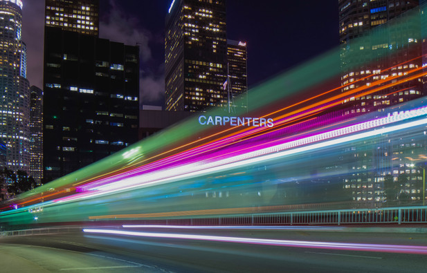 Light streaks in Downtown Los Angeles