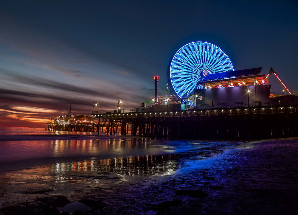 Sunset at Santa Monica Pier in Santa Monica California
