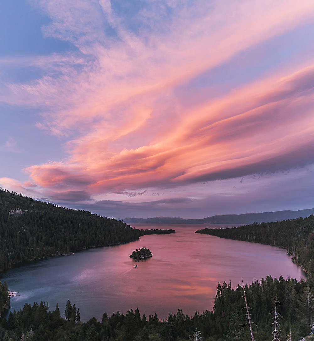 Lenticular cloud over Emerald Bay at sunset in Lake Tahoe