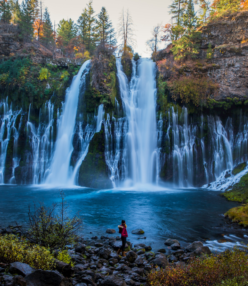 Hiking down to the base of Burney Falls in McArthur-Burney Falls Memorial State Park in Shasta County California