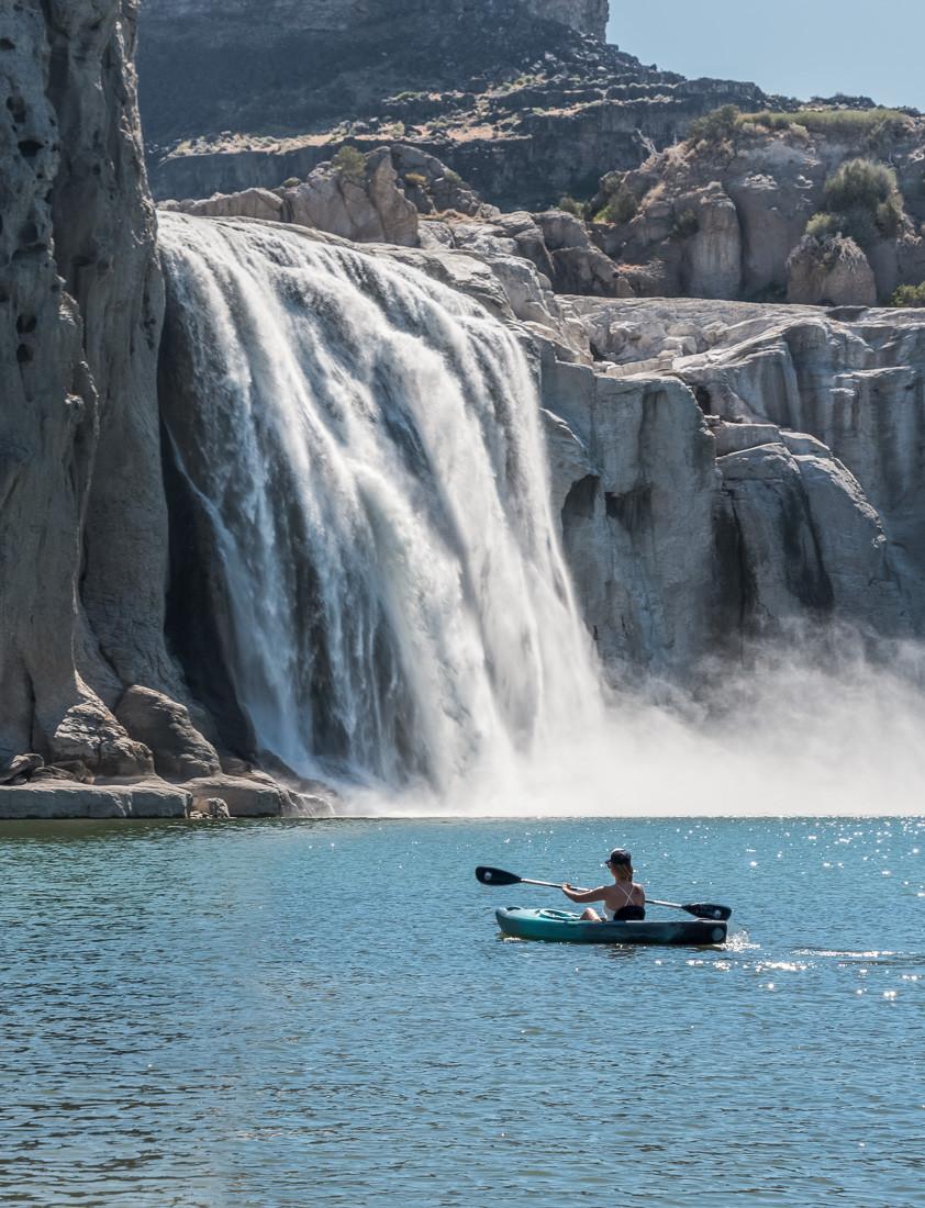 Kayaking to the base of Shoshone Falls in twin falls idaho