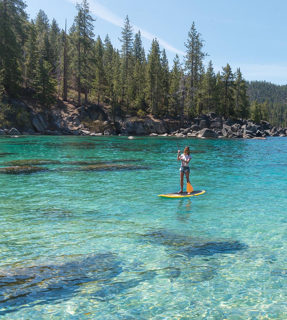 Paddle Boarding at Secret Cove in Lake Tahoe