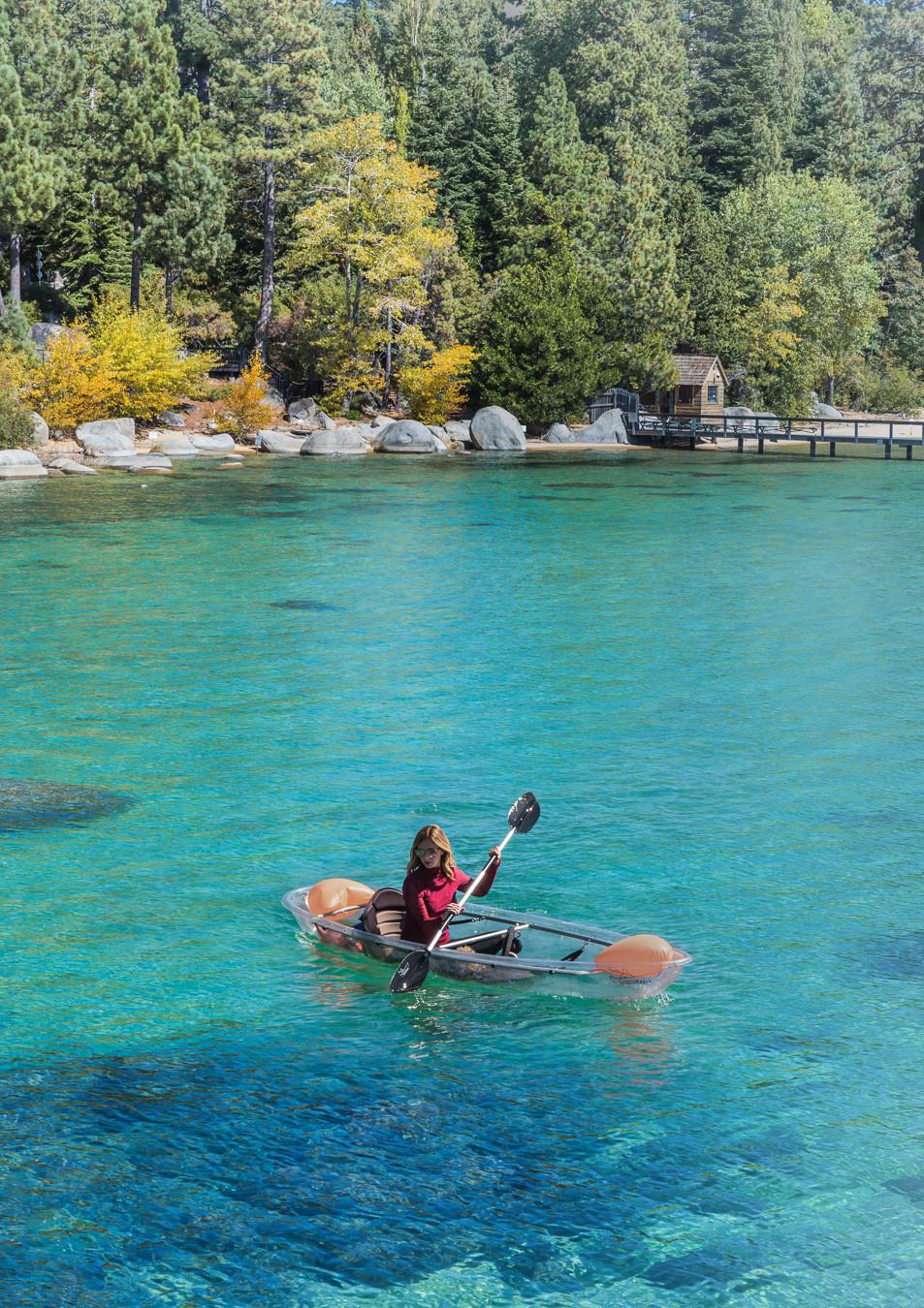 clear bottom kayaking in Lake Tahoe
