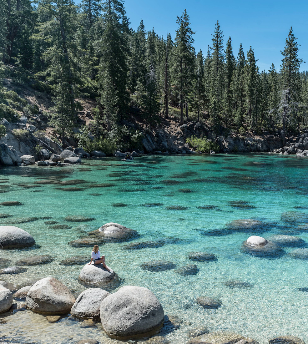 Turquoise water at Secret Cove Beach in Lake Tahoe Nevada