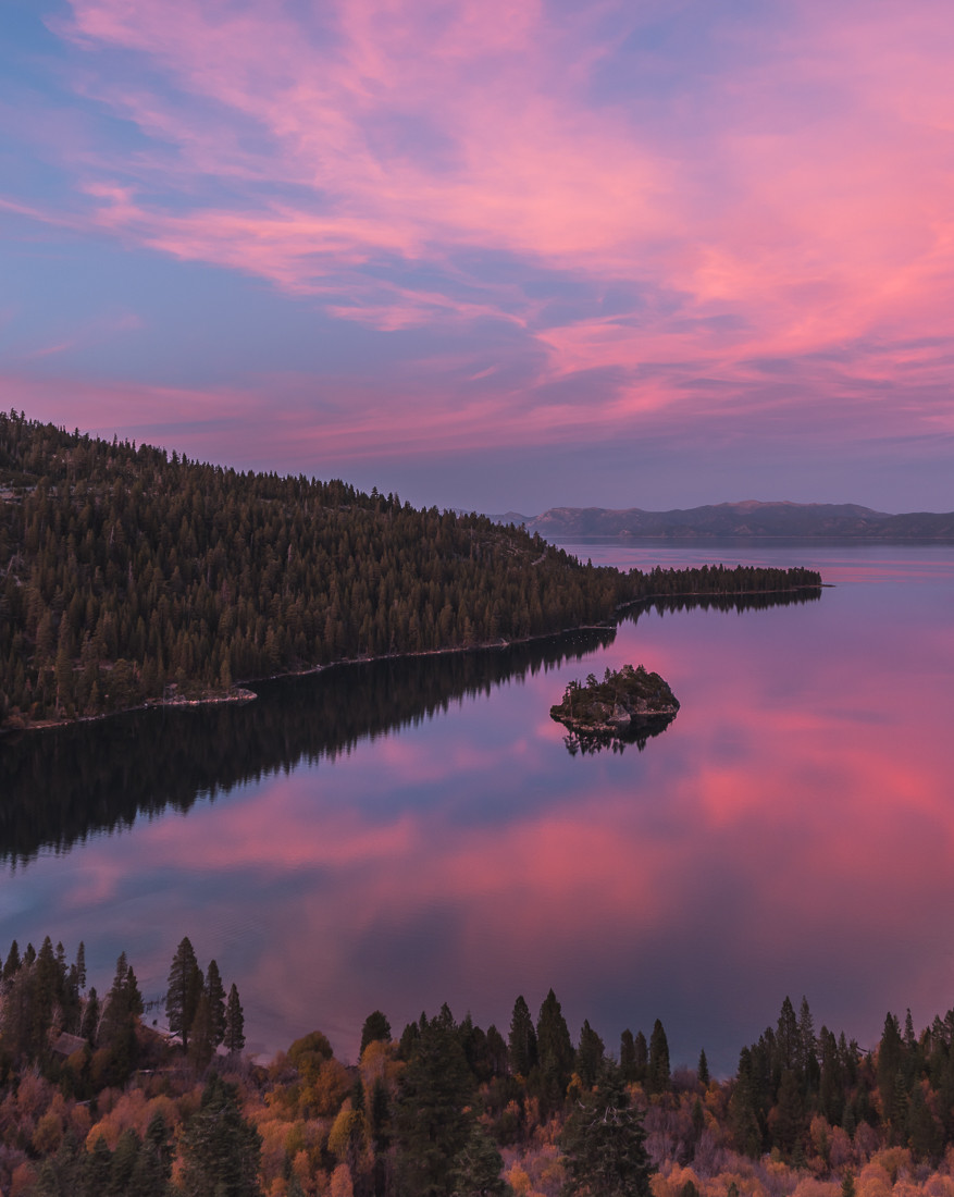 Pink Sunset at Emerald Bay in Lake Tahoe