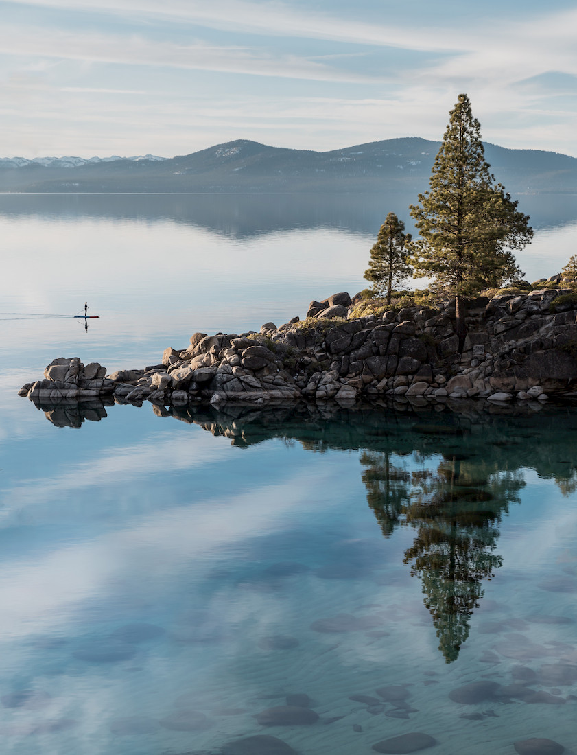 Paddle Boarder at Secret Cove in Lake Tahoe
