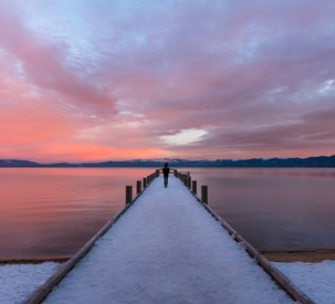 Sunrise at Valhalla Pier in Lake Tahoe