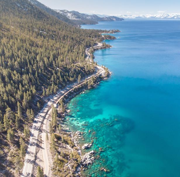 Aerial views of Lake Tahoe's east shore