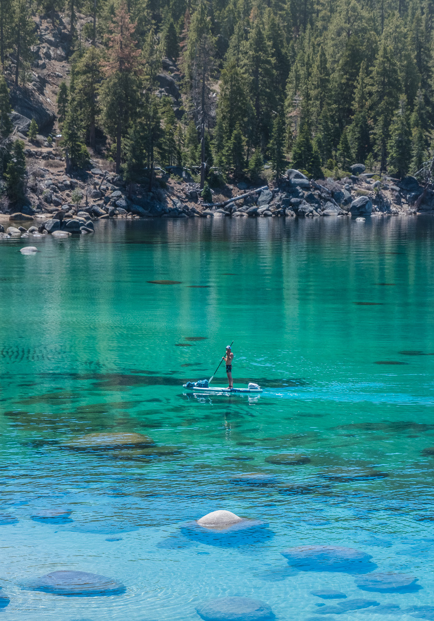 Paddle Boarding on the east shore in Lake Tahoe