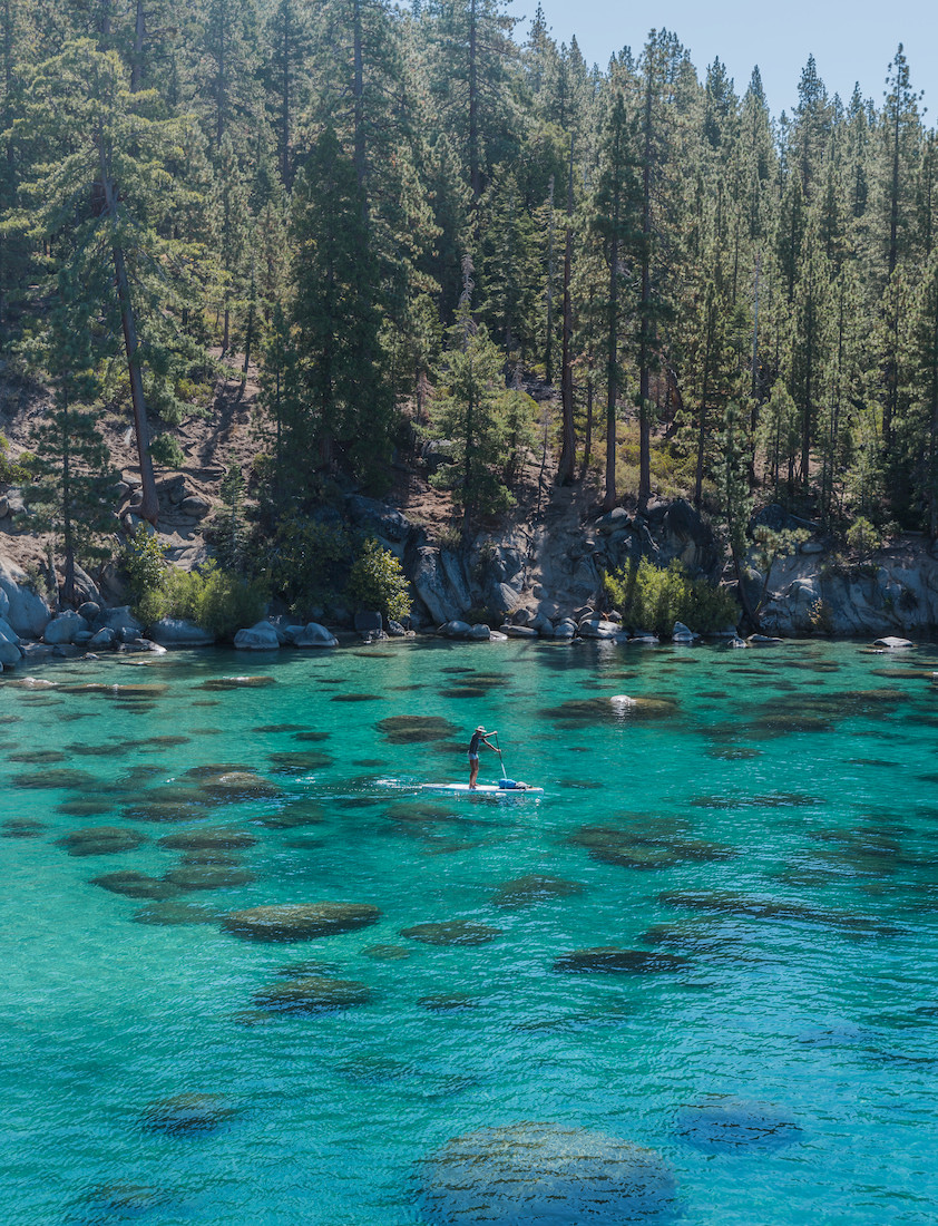 Paddle Boarder at Secret Cove Beach in Lake Tahoe Nevada