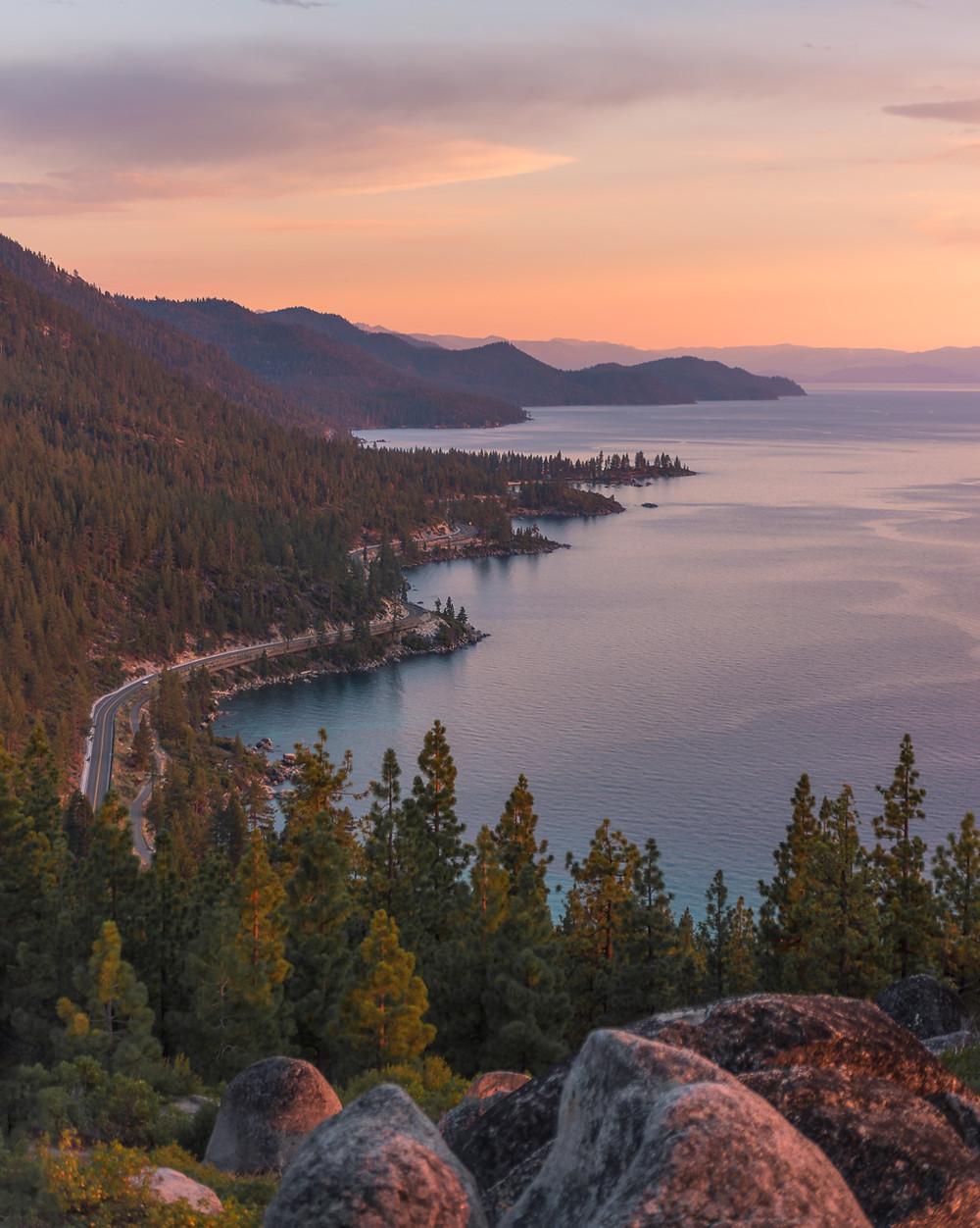 Sunset views from Monkey Rock in Lake Tahoe Nevada