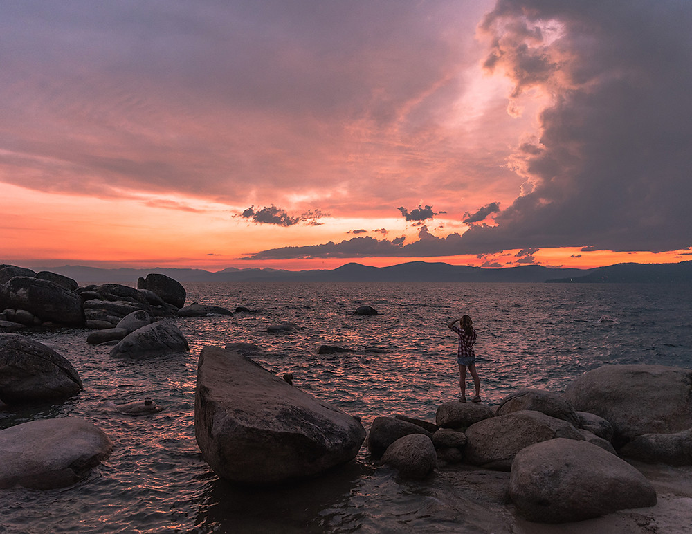 Sunset at Bonsai Rock in Lake Tahoe