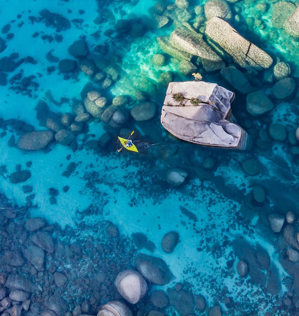 Aerial view of Bonsai Rock in Lake Tahoe