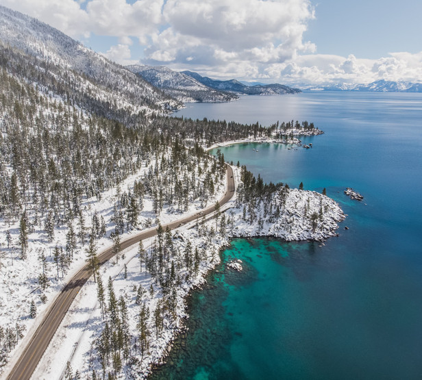 Aerial View of Sand Harbor in Lake Tahoe