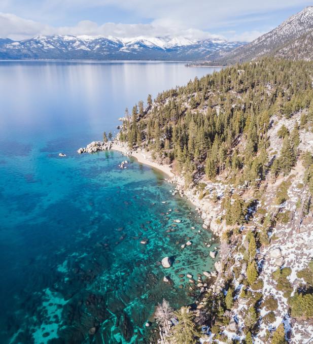 Aerial view of Chimney Beach in Lake Tahoe