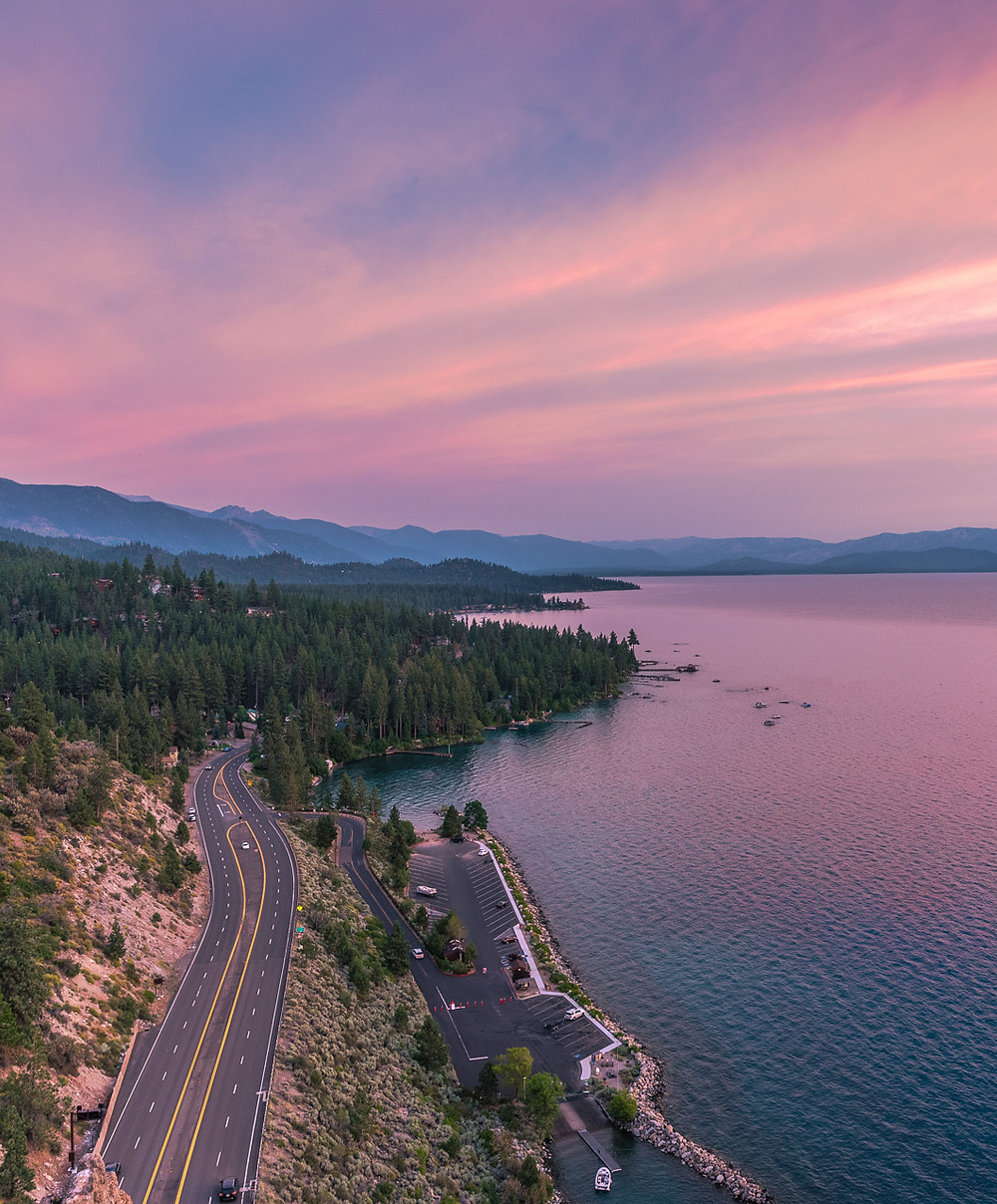Sunset at Cave Rock in Lake Tahoe