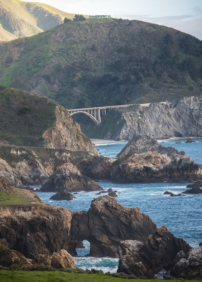 View of the Big Sur coastline from Notleys Landing, between Carmel Highlands and Big Sur, Monterey County, California