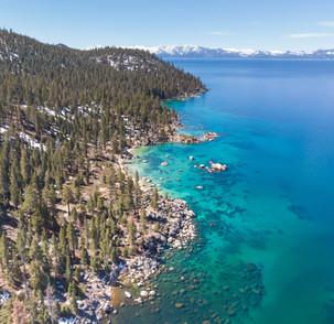 Aerial of Lake Tahoe's East Shore