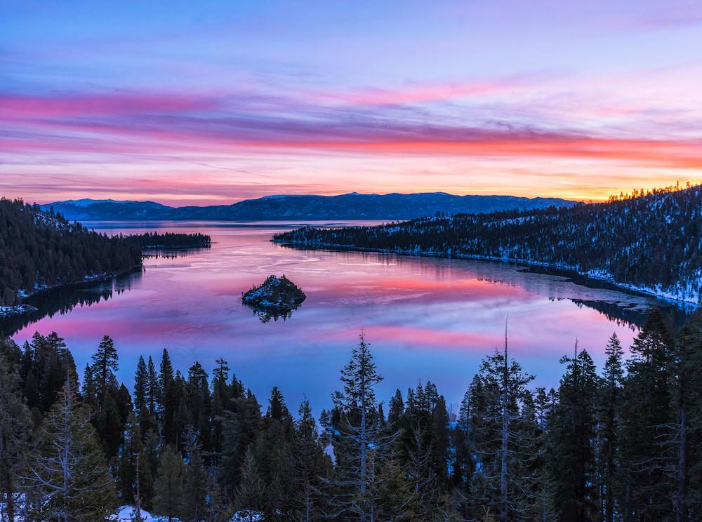 Winter sunrise at emerald bay lake tahoe california