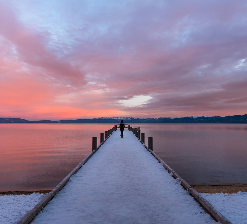 Sunrise at Valhalla Pier in South Lake Tahoe California