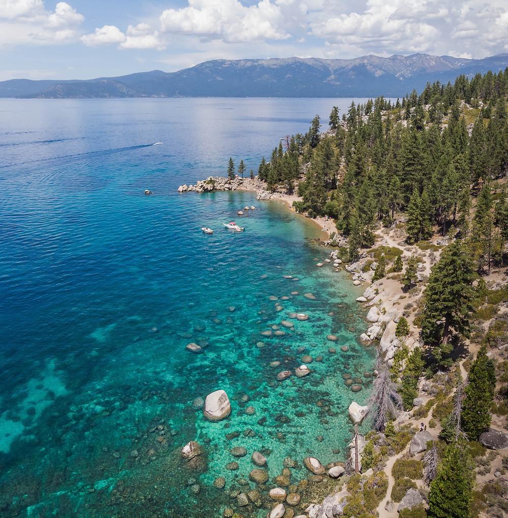 Aerial view of Chimney Beach in Lake Tahoe.   Drone image of Lake Tahoe Beach