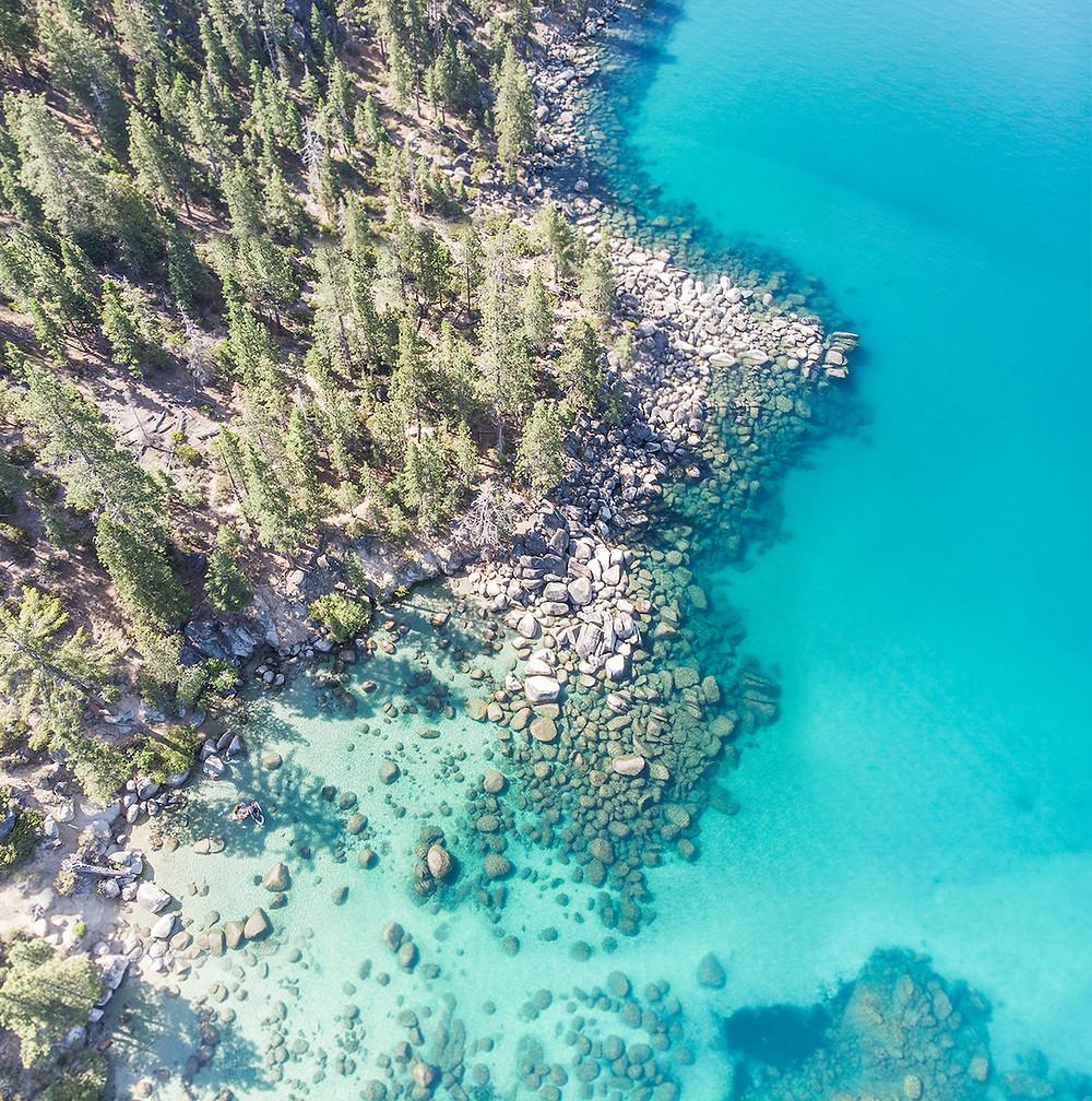Aerial view of secret cove beach in Lake Tahoe