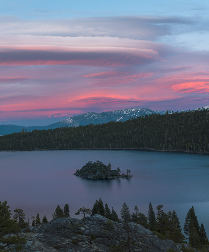 Lenticular Clouds over Emerald Bay State Park during sunset