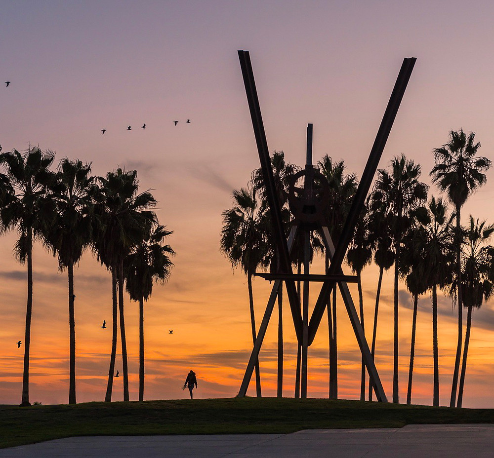 Sunset and Palm trees in Venice Beach California