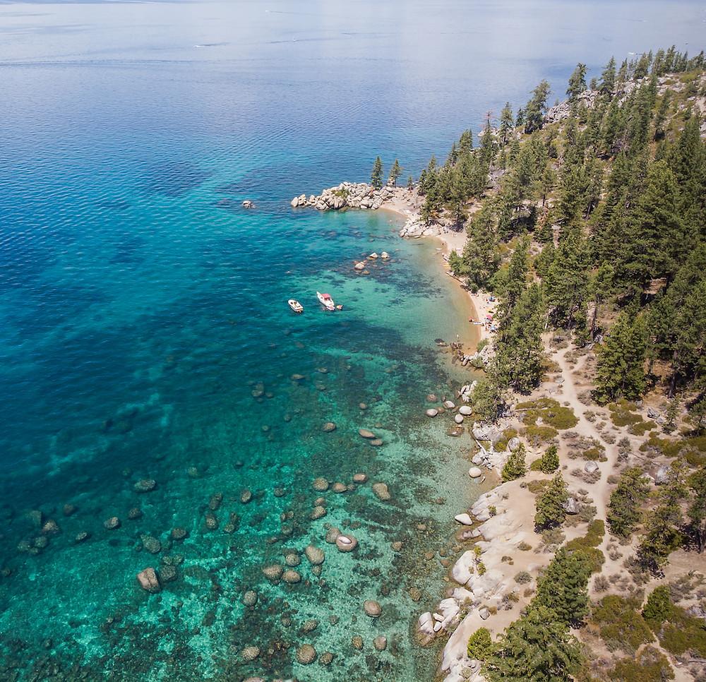 Aerial view of Chimney Beach in Lake Tahoe Nevada