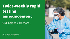 Twice-weekly rapid testing announcement