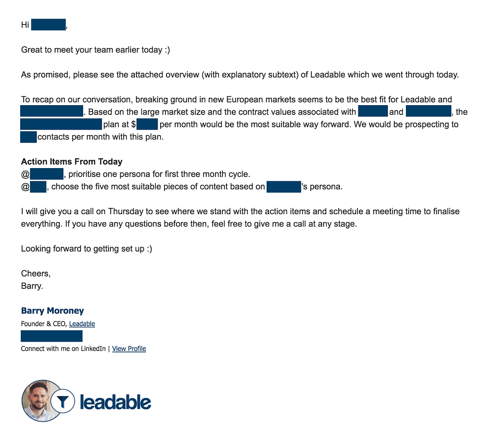 The Perfect Follow Up Email Template For Every Sales Meeting