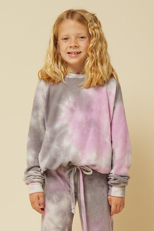 Vintage Havana Purple and Grey Tie Dye Bow Sinch Top