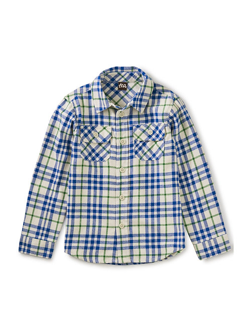 Tea Blue Plaid Flannel Button Up