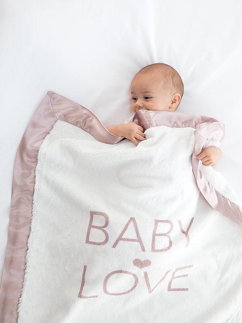 luxe baby love blanket rose/grey