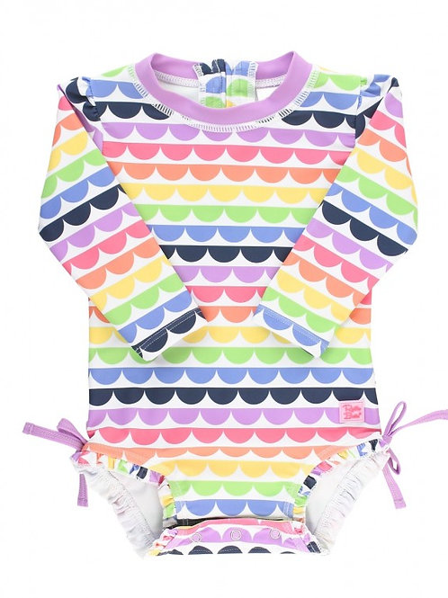 Ruffle Butts Rainbow Scallop One Piece Rash Guard